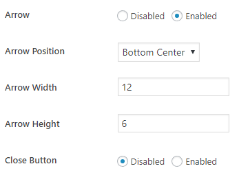Wordpress Plugin Tooltip Arrow Options