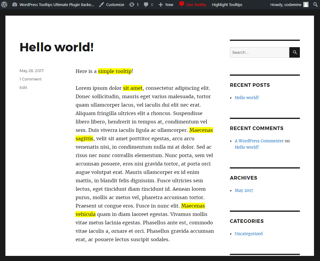 Wordpress Plugin Tooltip Highlight Tooltips