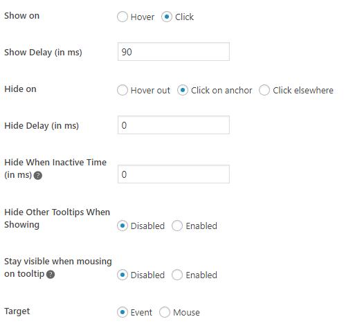 Wordpress Plugin Tooltip Interaction